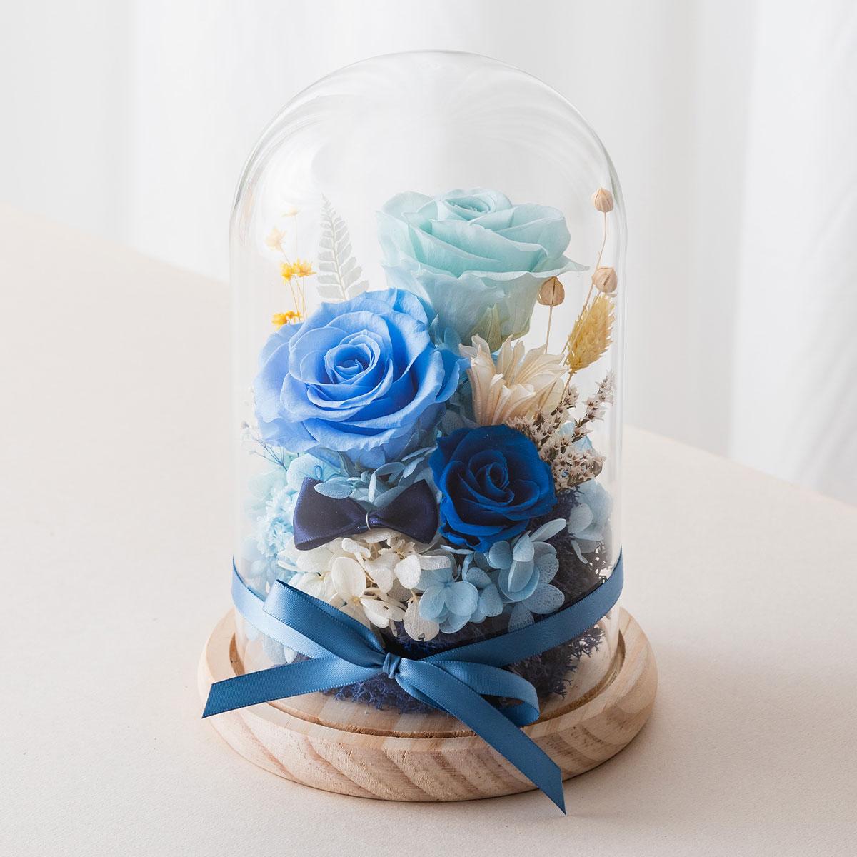 永生花玻璃罩,藍色開幕盆栽推薦,喜歡生活乾燥花店